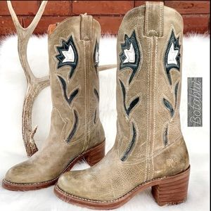 FRYE Vintage Floral Inlay Green Western Boots 7